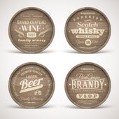 Set of wooden casks with alcohol drinks emblems - vector illustration — Stock Vector