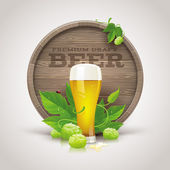Still life with wooden cask, beer glass and ripe hops and leaves - vector illustration — Stock Vector