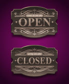 Open and Closed wooden ornate vintage signs - vector illustration — Stock Vector