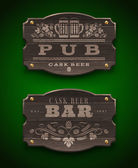Vintage wooden signs for Pub and Bar - vector illustration — Stock Vector