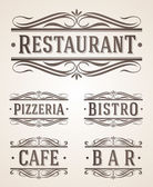 Vintage restaurant and cafe labels and signs - vector illustration — Stock Vector