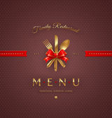 Ornate cover menu with golden cutlery and lettering - vector illustration — Vector de stock