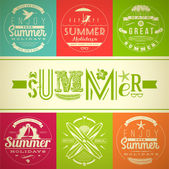Set of summer vacation and holidays emblems with lettering and travel symbols - vector illustration — Stock Vector