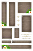 Wooden backgrounds with tropical flowers and decorative elements - set of standart vector web banners — Stock Vector