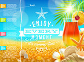 Vacation, travel and summer holidays vector design — 图库矢量图片