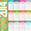 Stock Vector: Vector design template - Calendar of 2014 with stitched labels-months