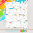 Vector design template - Cardboards with calendar of 2014 on a grunge colorful painted background — Stock Vector #30297615