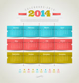 Vector template design - calendar of 2014 with holidays icons — Stock Vector
