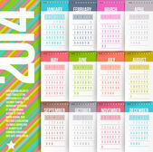 Vector design template - Calendar of 2014 with stitched labels-months — Stock Vector
