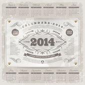 Modelo de design - calendário vintage ornado de 2014 em um fundo de grunge da rotulação de vetor — Vetor de Stock