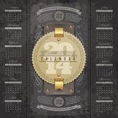 Vektor schriftzug entwurfsvorlage - kalender 2014 mit vintage etiketten und grunge-elementen — Stockvektor