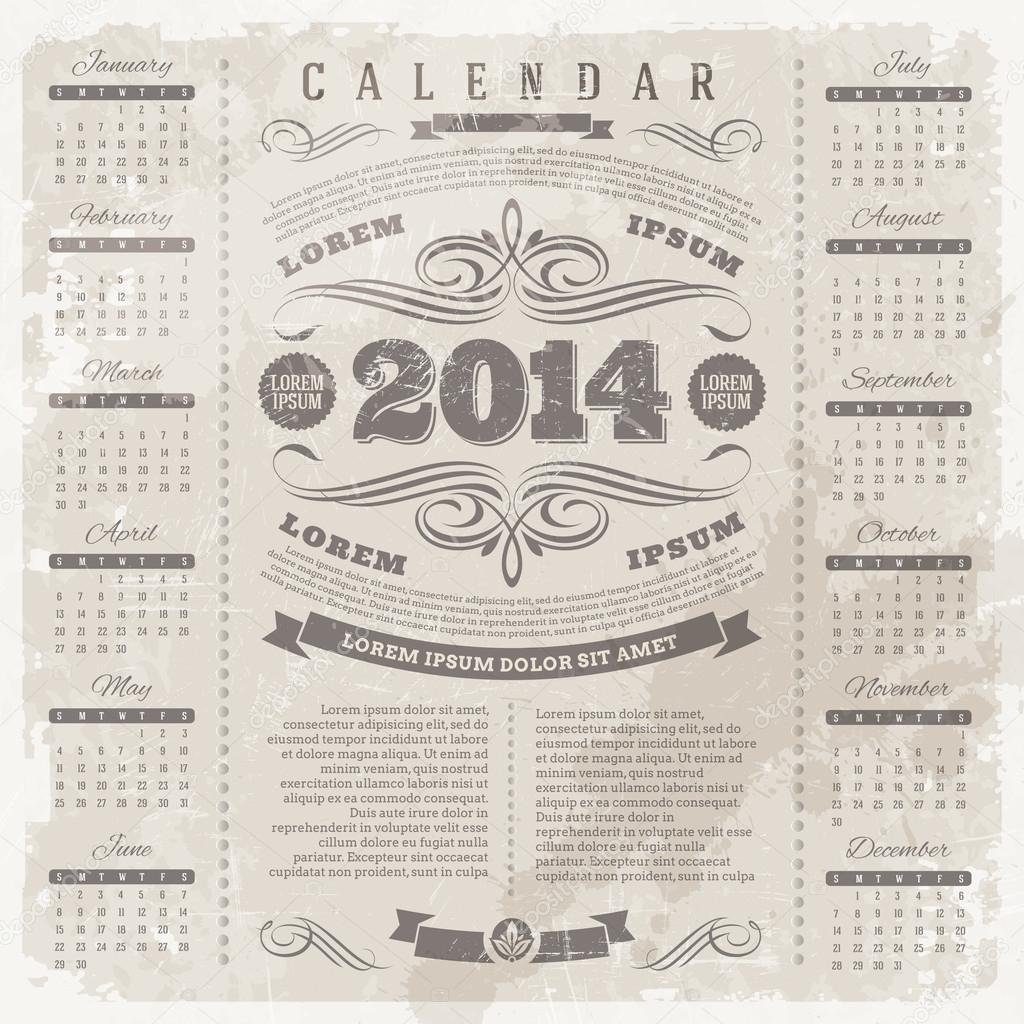 Vintage Calendar Template : Vector lettering template design ornate vintage calendar