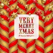 Christmas vector background, decoration and label with holidays greetings — Stock Vector