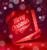 Luminous Christmas greeting card - vector illustration — Vector de stock