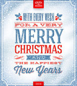 Vector Christmas greeting card - holidays lettering on a winter snow background — Vetor de Stock