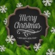 Stockvector : Chalkboard with christmas greeting and paper snowflakes in a fir-tree branches - vector illustration