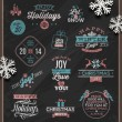 Christmas vector illustration - holidays signs, emblems and greetings on a chalkboard and white paper snowflakes — Image vectorielle