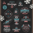 Christmas vector illustration - holidays signs, emblems and greetings on a chalkboard and white paper snowflakes — Stock Vector