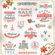 Vector set of Christmas signs emblems and Greetings — Imagens vectoriais em stock