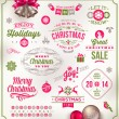 Vector set of Christmas signs emblems and Greetings — Vettoriali Stock