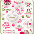 Vector set of Christmas signs emblems and Greetings — Grafika wektorowa