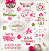 Vector set of Christmas signs emblems and Greetings — Stock Vector