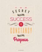 "Motivating Quotes by Benjamin Disraeli - ""The secret of success is constancy of purpose"" - Typographical vector design — Stock Vector"