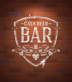 Bar sign painted with white paint on vintage brick wall - vector illustration — Stock Vector