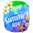 Summer time greeting with Tropical flowers and sea creatures against a watercolor background banner - vector illustration — Stok Vektör