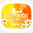 Summer time greeting and frangipani tropical flowers on a yellow watercolor background banner - vector illustration — Stock Vector