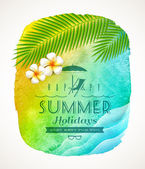 Summer holiday greeting - watercolor background banneer with sea waves, palm tree branches and frangipani flowers on shore - vector illustration — Stock Vector