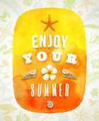 Watercolor banner with summer greeting on a background composed of summer things - vector illustration — Stock Vector