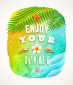Watercolor background banneer with summer holiday greeting - vector illustration — Stock Vector