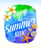 Summer time greeting with Tropical flowers and sea creatures against a watercolor background banner - vector illustration — Stockvektor