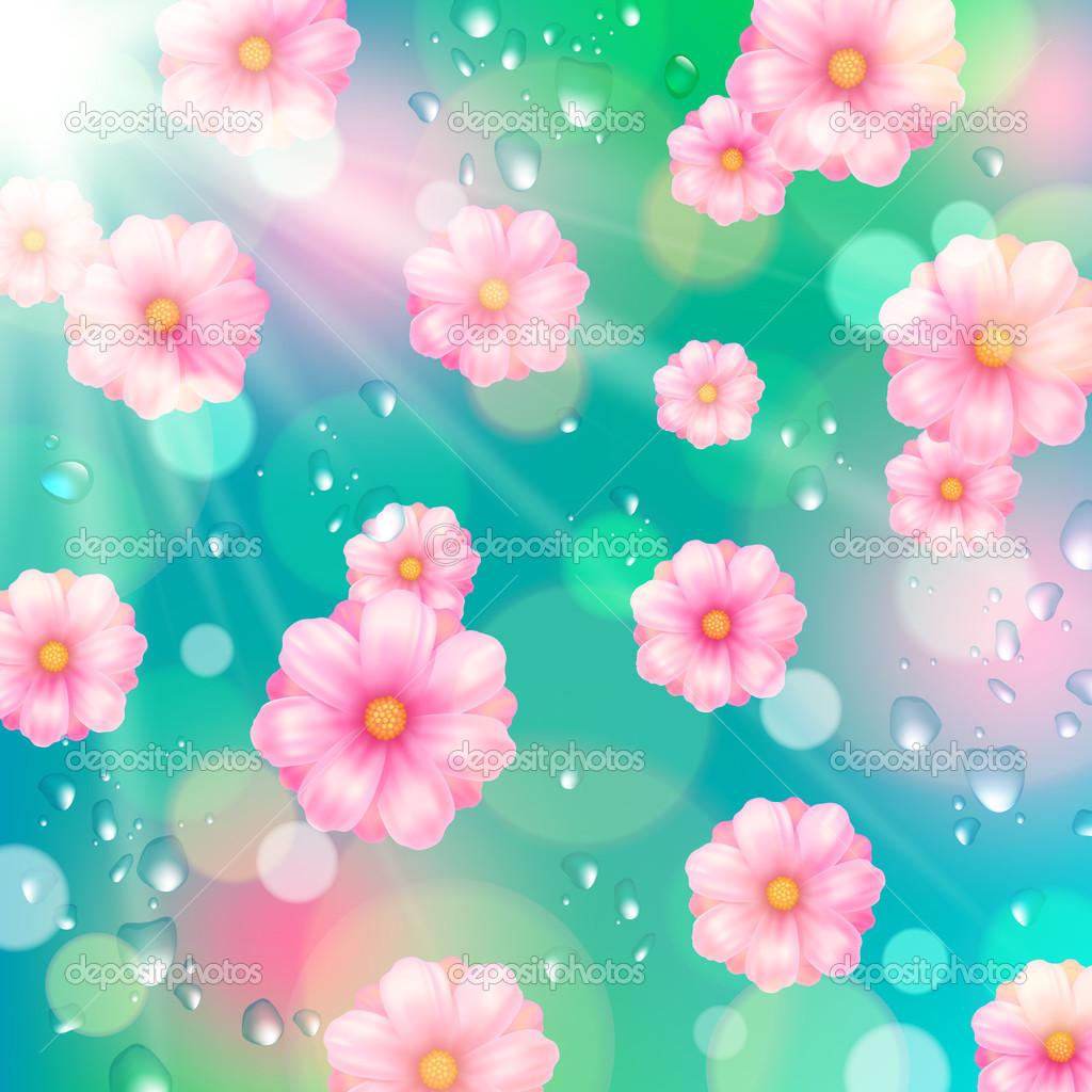 Vector fiori primaverili sfondo rosa e gocce d 39 acqua - Fiori primaverili ...
