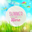 Summer greeting round banner against a landscape with fresh grass and colorful kites - vector illustration — Stock Vector