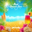 Tropical summer vacation - Beach bar menu vector design — Stock Vector