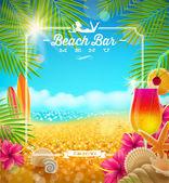Tropical summer vacation - Beach bar menu vector design — Stock Vector