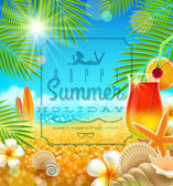 Tropical summer vacation - greetings vector design — Stock Vector