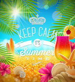 Summer holidays greeting - tropical design, vector illustration — Stok Vektör