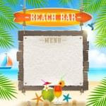 Tropical beach bar - signboard surfboard and paper banner for menu - summer holidays vector design — Stock Vector #45441041