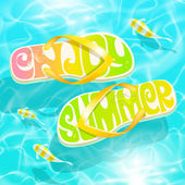 Flip-flop with summer greeting floating on water with tropical fishes - summer holidays vector design — Stock Vector