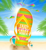 Multicolored huge flip-flop with summer greeting on the tropical beach - vector illustration — Stock Vector