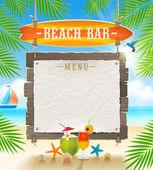 Tropical beach bar  - signboard surfboard and paper banner for menu - summer holidays vector design — Stock Vector