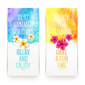 Summer holidays watercolor banners with tropical flowers and summer greetings - vector illustration — Stock Vector