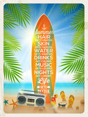 Vintage vector illustration - Old surfboard with summer saying and retro cassette recorder on the tropical beach — Stock Vector