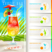 Booklet template with infographic elements - Tropical beach bar menu - vector design — Stock Vector