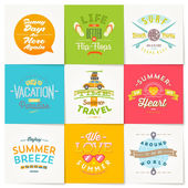 Vector set of travel and summer vacation type design — Stock Vector
