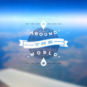 Around the world - type design against a defocused earth landscape from airplane — Stock Vector