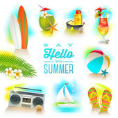 Vector set of summer and beach vacations elements — Stock Vector